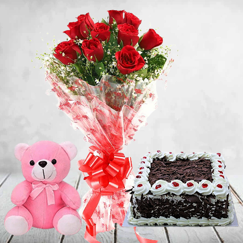Order Red Roses Bouquet with Teddy N Cake Online