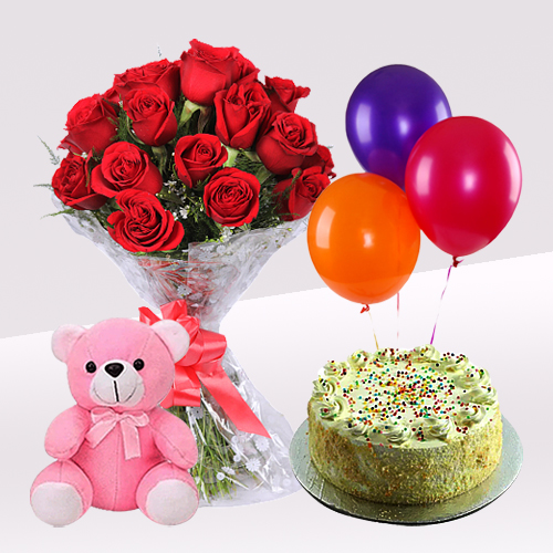 Deliver Online Vanilla Cake with Red Roses Bouquet, Teddy n Balloons