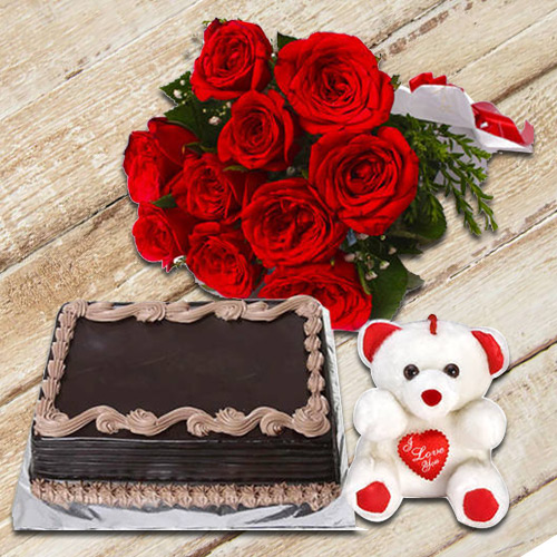 Buy Bouquet of Red Roses with Small Teddy N Chocolate Cake Online