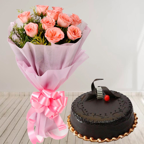 Buy Chocolate Truffle Cake with Red Roses Bouquet Online