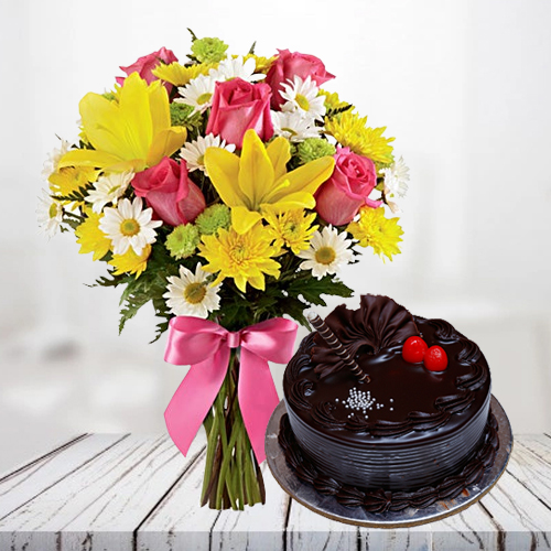 Book Online Combo of Mixed Flowers Bunch with Chocolate Truffle Cake