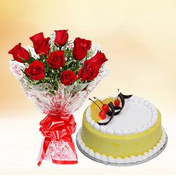 Brilliant Red Roses Bouquet with Pineapple Cake