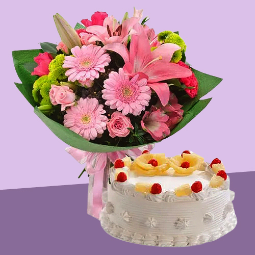 Deliver Online Pineapple Cake with Mixed Flowers Bouquet