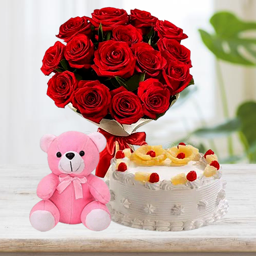 Online Combo of Red Roses Bouquet with Pineapple Cake N Teddy