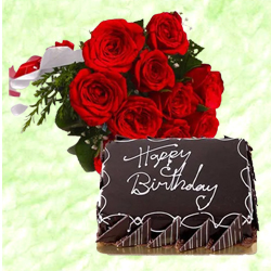 Yummy Combo of Chocolaty Cake with Red Roses Bunch