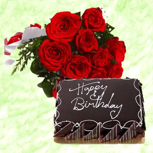 Shop Chocolate Cake N Red Roses Bunch Online