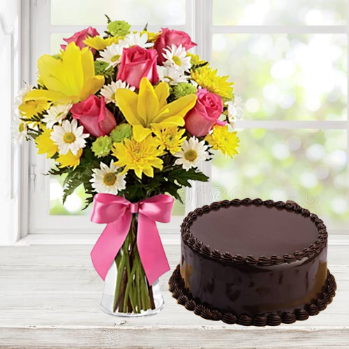Buy Online Mixed Flowers Bunch with Chocolate Cake