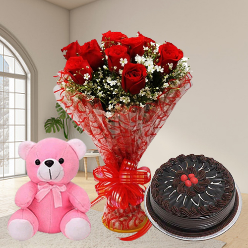 Book Eggless Chocolate Cake with Red Roses N Teddy Online