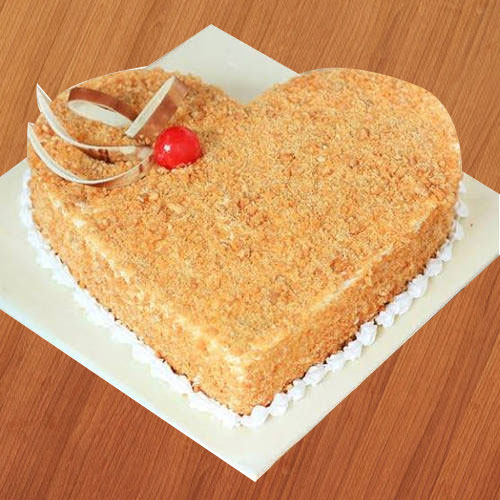 Order Online Heart-Shape Butter Scotch Cake