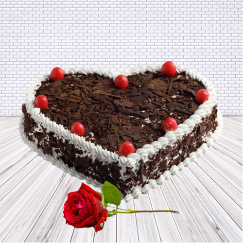 Buy Online Heart-Shape Black Forest Cake with Single Rose