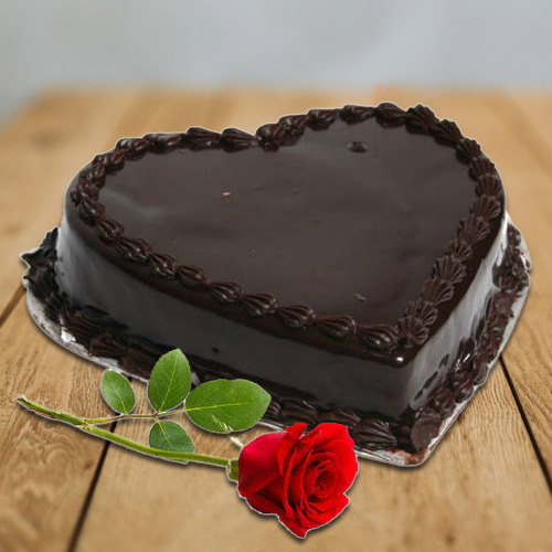 Send Chocolate Cake in Heart Shape with Single Rose Online