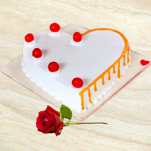 Send Online Vanilla Cake in Heart Shape with Single Rose