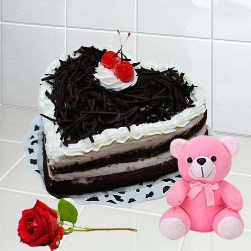 Online Gift Heart Shape Black Forest Cake with Teddy N Single Rose