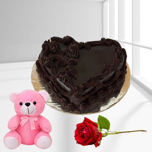Shop Heart Shape Chocolate Cake with Teddy N Single Rose Online