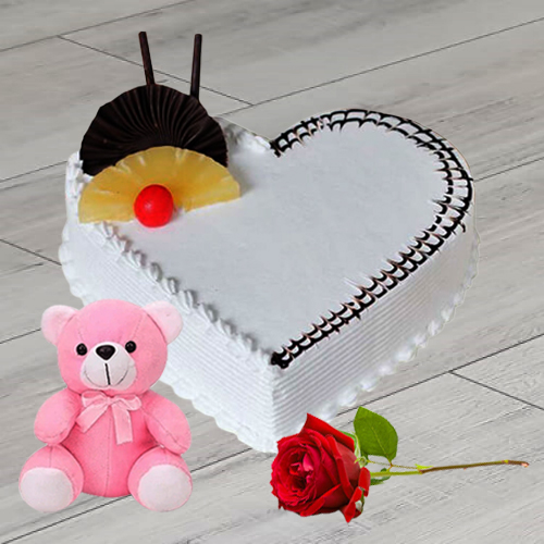Buy Heart Shape Vanilla Cake Online with Single Rose N Teddy