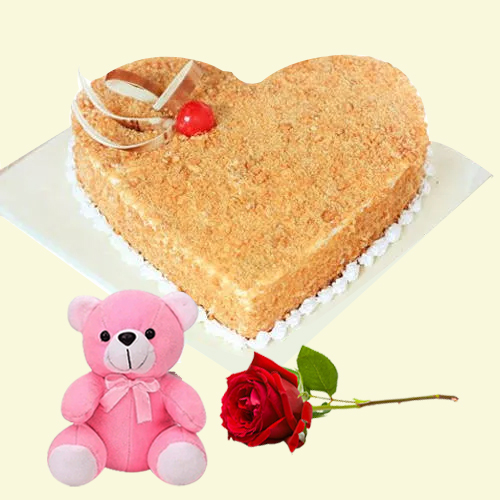 Online Deliver Heart-Shape Butter Scotch Cake with Single Rose N Teddy
