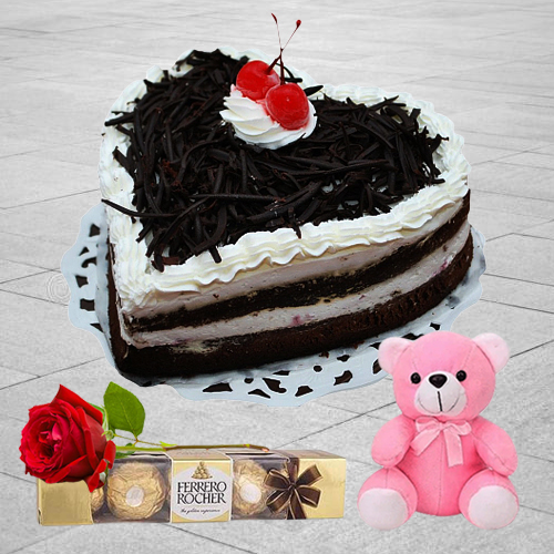 Online Heart Shape Black Forest Cake with Teddy, Ferrero Rocher N Single Rose