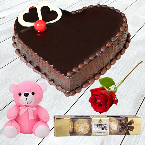 Online Gift Heart Shape Chocolate Cake with Ferrero Rocher, Teddy N Single Rose