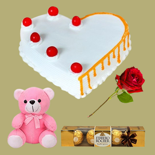 Shop Heart Shape Vanilla Cake with Teddy, Red Rose N Ferrero Rocher Online