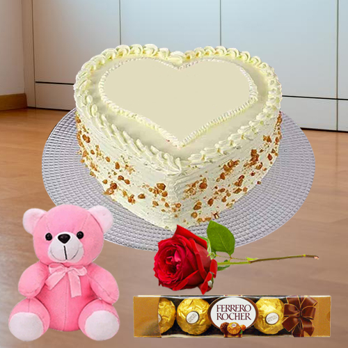 Book Online Heart Shape Butter Scotch Cake with Teddy, Red Rose N Ferrero Rocher