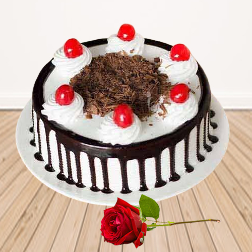 Order Combo of Eggless Black Forest Cake with Single Rose