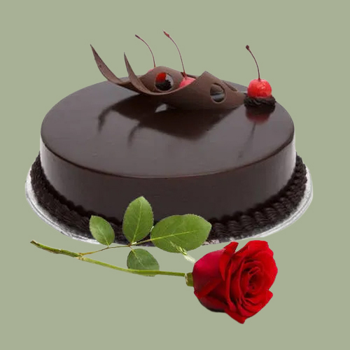 Online Order Eggless Chocolate Cake with Single Rose
