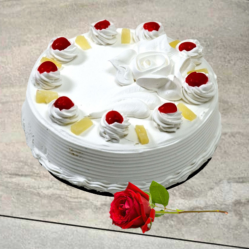 Buy Eggless Vanilla Cake with Single Rose