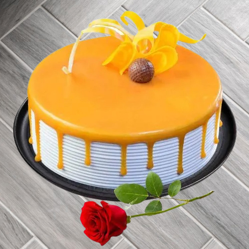 Deliver Online Eggless Butter Scottch Cake with Single Rose