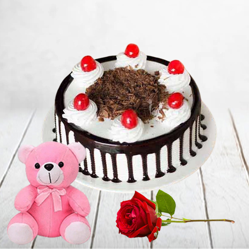 Gift Eggless Black Forest Cake with Teddy N Single Rose Online