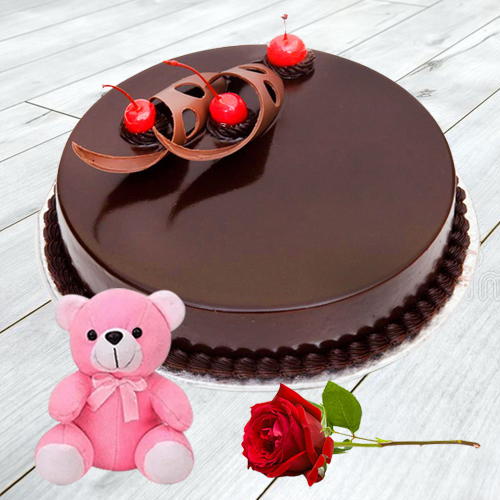 Order Eggless Chocolate Cake with Single Rose N Teddy Online