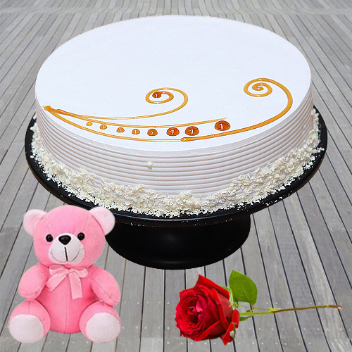 Online Order Eggless Vanilla Cake with Red Rose N Teddy