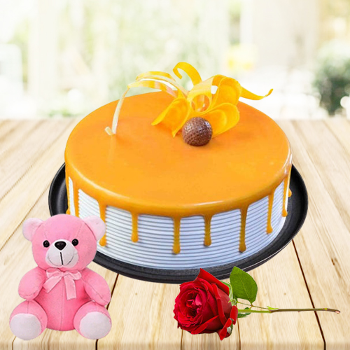 Online Gift Eggless Butter Scotch Cake with Teddy N Red Rose