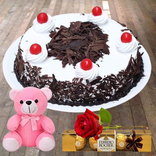Shop Eggless Black Forest Cake with Teddy, Ferrero Rocher N Single Rose