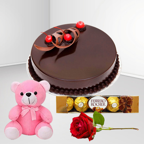 Book Online Eggless Chocolate Cake with Ferrero Rocher, Teddy N Red Rose