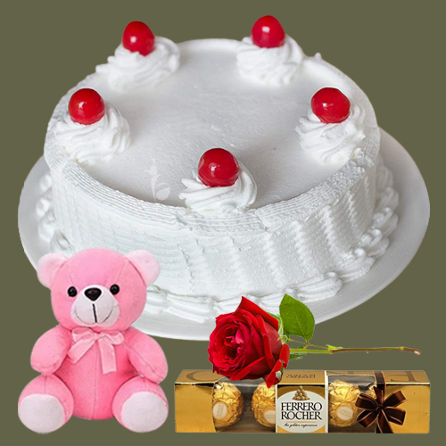 Gift Online Eggless Vanilla Cake with Ferrero Rocher, Teddy N Single Rose