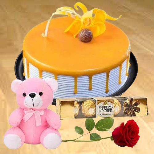 Order Online Eggless Butter Scotch Cake with Teddy, Ferrero Rocher N Single Rose