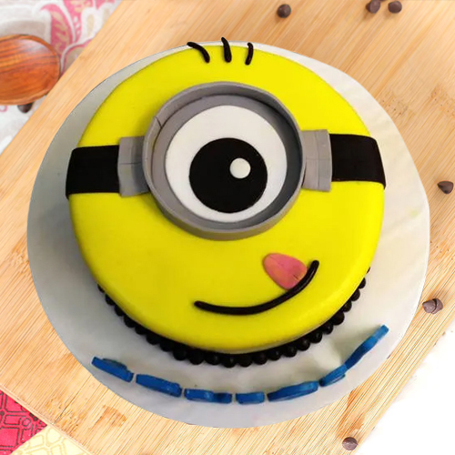 Deliver Online 1 eyed Minions Fondent Cake for Kids