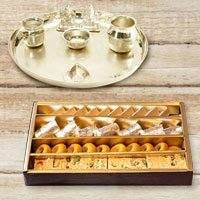 Silver plated Puja Thali with Silver Plated Lakshmi Ganesha with Haldiram�s Assorted Sweets