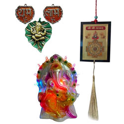 Auspicious LED Lighted Ganesh Idol with Shubh Labh Gift Set