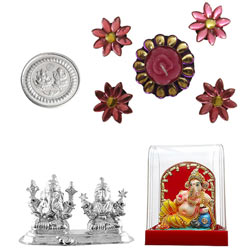 Mind Blowing Silver Plated Ganesh Idol with Silver Coin Gift Hamper
