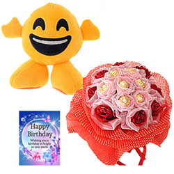 Splendid Day Floral Arrangement with Smiley Soft Toy