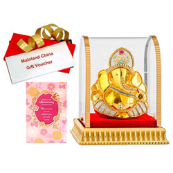 Delightful Gift of Vighnesh Idol, Anniversary Card and Mainland China Voucher