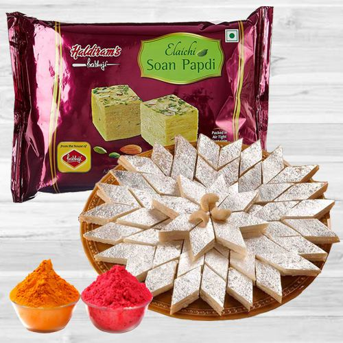 Holi Delight Haldiram Soan Papdi with Kaju Katli N Free Herbal Gulal