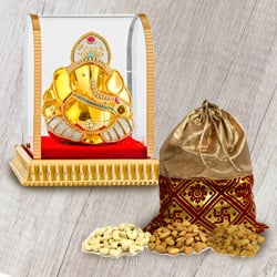 Decorative Ganesha Murti with Tasty Mixed Dry Fruits