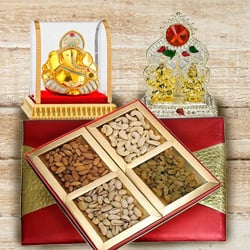 Crunchy Nuts Dry Fruits Gift Box with Puja Mandap and Lord Vinayak