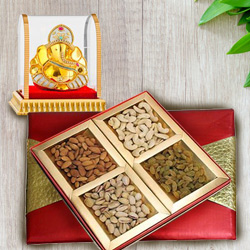 Lovable Vighnesh Ganesh Murti with Rich Gift Box of Assorted Nuts Dry Fruits