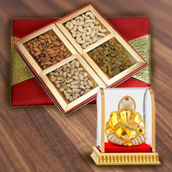 Mesmerizing Vighnesh Ganesh Murti with Assorted Dry Fruits Box