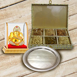 Assorted Dry Fruits with Vighnesh Ganesh Idol and Silver Plated Thali