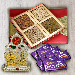Delectable Gift Box of Mixed Dry Fruits with Dairy Milk Chocolates N Ganesh Mandap