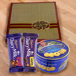 Enjoyable Treat of Chocolates N Cookies with Dry Fruits
